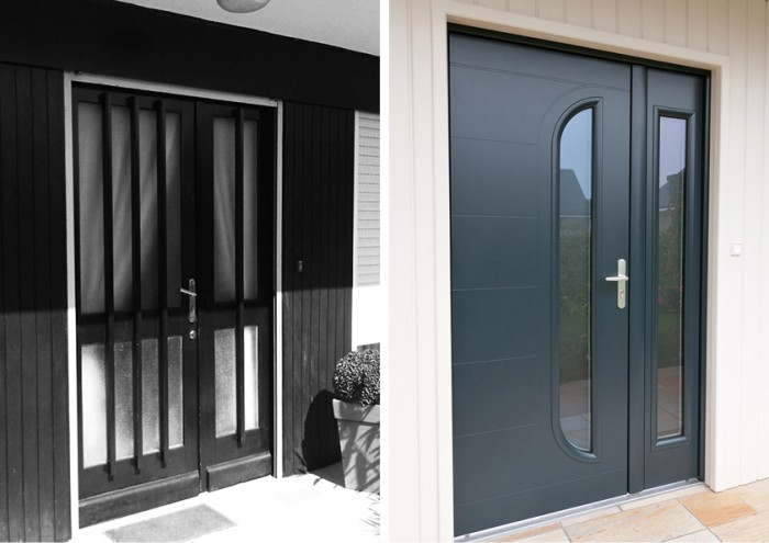 Portes d 39 entr e ecologis experts for Porte entree alu contemporaine